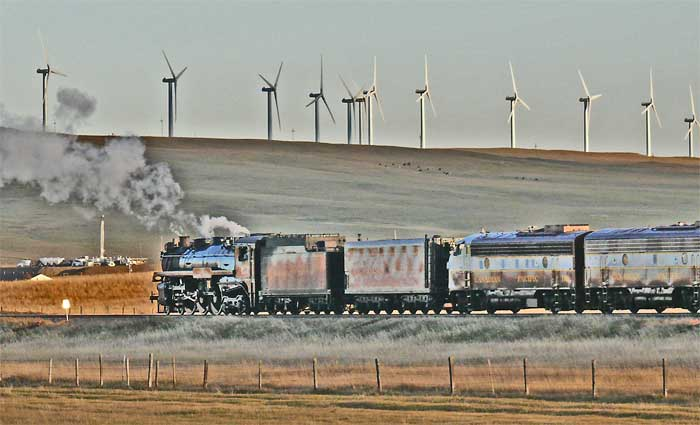2816 canadian pacific steam train alberta wind turbines