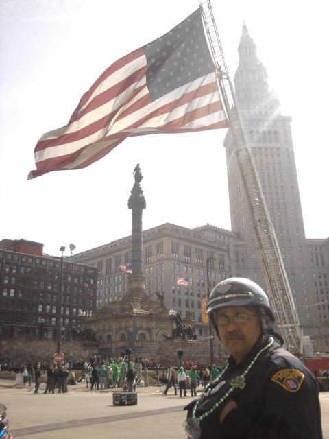 911 Flag Flies in Public Square above Cleveland
