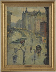 "Leon Kroll (American, 1884-1974) ""Study for Broadway Looking South"" $8,000/12,000"