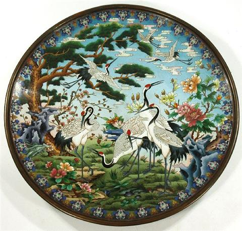 """A Large Chinese Cloisonné Charger, 20th century. Diameter: 25"""" Estimate $ 800-1,200"""