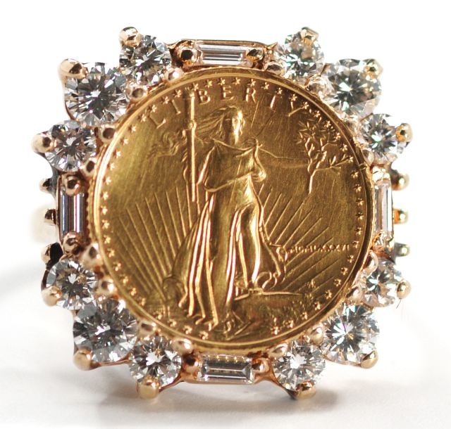 lot 1 A 14 kt. Yellow Gold and $5 American Eagle Gold Coin Ring