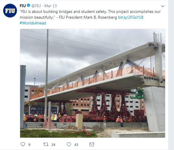 Florida International University  FIU post tensioned concrete pedestrian bridge collapse forensics