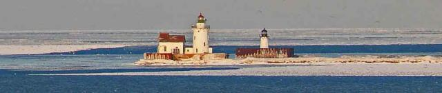 Lake Erie ice and Cleveland light house