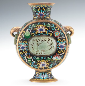 Lot 1301 Chinese Enameled Moon Flask with Jadeite Carved Inserts est $1,000-$2,000
