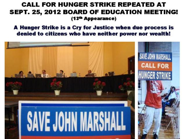 SAVE JOHN MARSHALL! CALL FOR HUNGER STRIKE!
