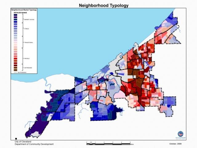 demo and landbank map of cleveland  - red and purple