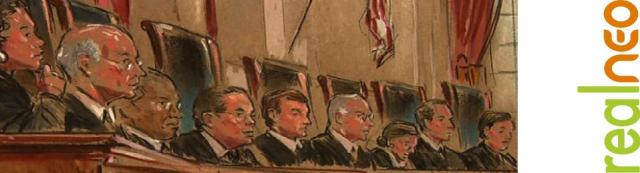 Supreme Court Justices banner sketch during DOMA by william hennessy for cbsnews
