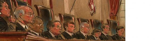 Supreme Court Justices sketch during DOMA by william hennessy for cbsnews