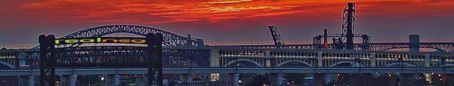 Cleveland bridges at sunset