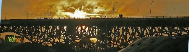 Passing storm bridge silhouette cleveland
