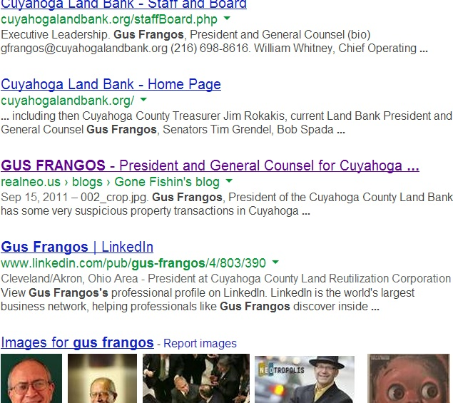 Gus Frangos Google search screen grab 4.22.13