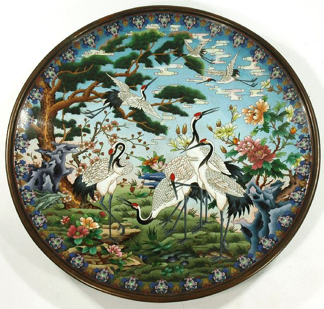 Lot 170  A Large Chinese Cloisonne Charger, 20th Century. Estimate $800-1,200