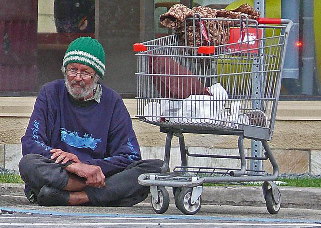homeless man with shopping cart at McDonalds