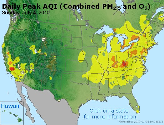 US EPA AirNow AQI Index - poor air quality day for much of America