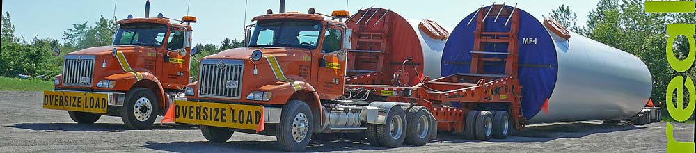 heavy haul specialized trailer for wind turbine tower sections at border near montreal  image jeff buster june 11