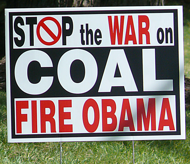 stop the war on coal fire obama murray energy corp lawn sign who created this sign