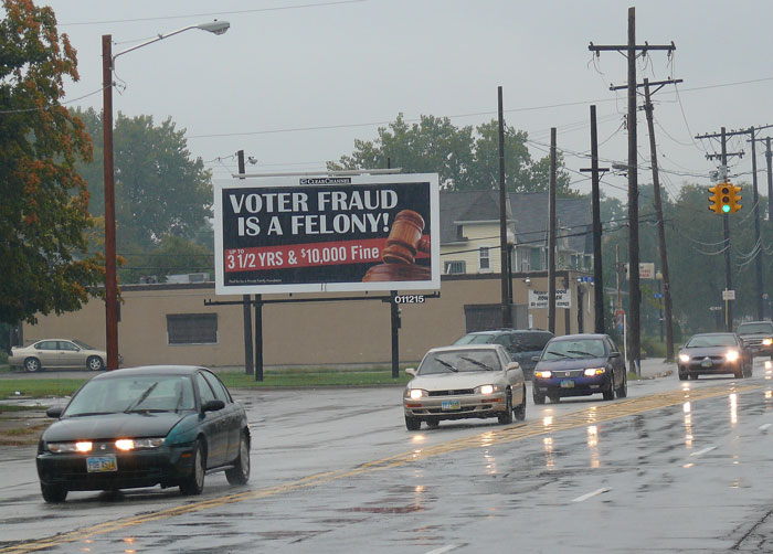 voter fraud bill board sign billboard clear channel cleveland ohio cuyahoga county private family foundation