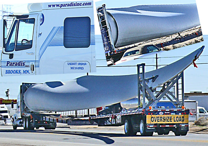 curved wind turbine blade on truck near Boron Californi
