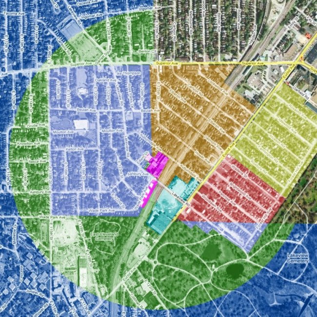 Star Complex East Cleveland Half Mile Radius and Zones