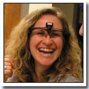 NPR host of Weekend America Barbara Bogaev with a prototype of the emotion reading glasses