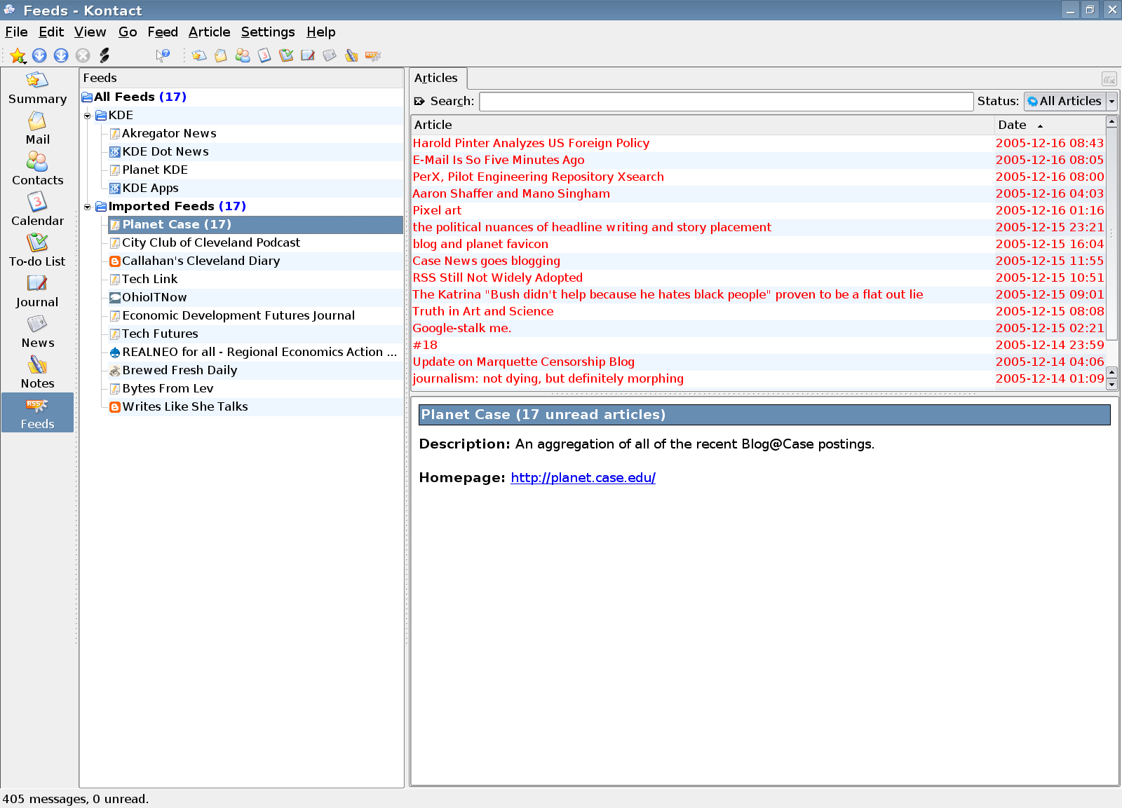 Kontact's RSS Reader Akregator